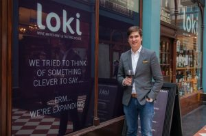 Phil Innes, the founder and owner of Loki Wine, outside the Great Western Arcade shop