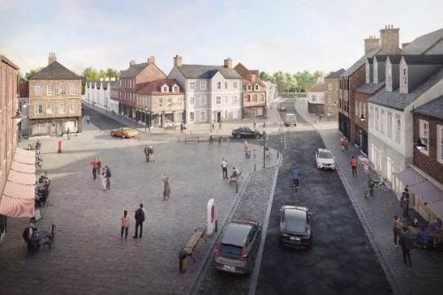The owners of Escrick Park Estate, in North Yorkshire, have outlined their vision for a brand new community featuring more than 4,000 homes. Image of new high street/ plaza for new community.